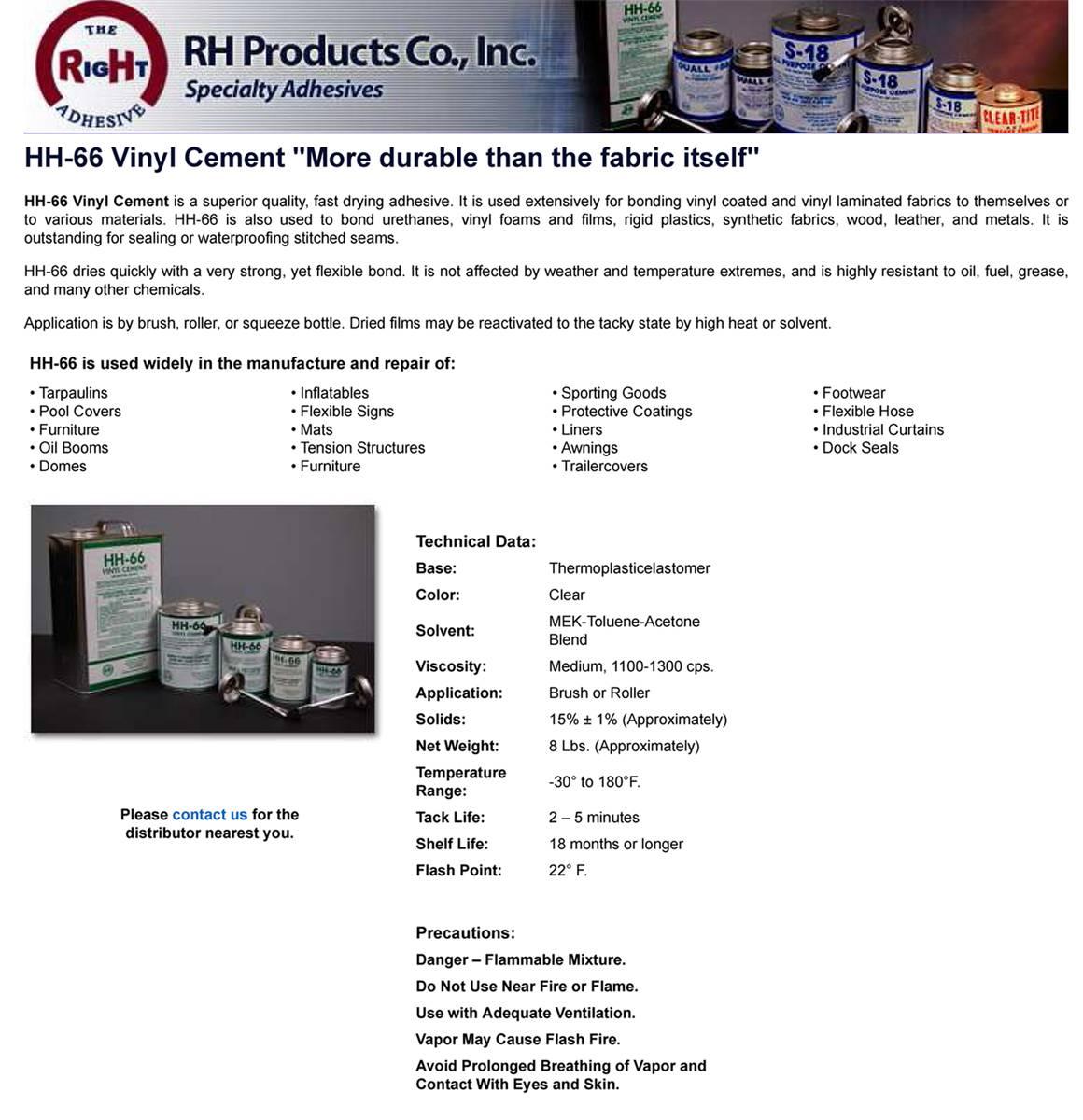 212502 Hh 66 Vinyl Cement Glue 1 Qt Brushtop Can