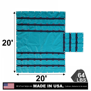 Lookout Mountain Tarp - 20' x 20' Vinyl Lumber Tarp with Flap for Flatbed Truck and Trailer - 6' Drop