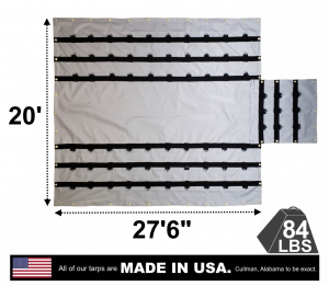 "Lookout Mountain Tarp - 20' x 27'6"" Vinyl Lumber Tarp with Flap for Flatbed Truck and Trailer - 6' Drop"