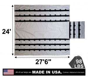 "Lookout Mountain Tarp - 24' x 27'6"" Vinyl Lumber Tarp with Flap for Flatbed Truck and Trailer - 8' Drop"