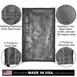 Lookout Mountain Tarp - Side Roll Tarp for Belly Bottom Dump Trailer Bed - Black 7.5oz Seamless Closed Mesh