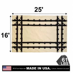Lookout Mountain Tarp - 16' x 25' Vinyl Steel Tarp with D-Rings for Flatbed Truck and Trailer - 4' Drop