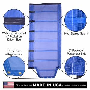 Lookout Mountain Tarp - Side Roll Tarp with Tail Flap for End Dump Trailer Bed - 11oz Open Mesh