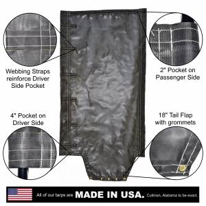 Lookout Mountain Tarp - Side Roll Tarp With Tail Flap for End Dump Trailer Bed - Black 7.5oz Seamless Closed Mesh