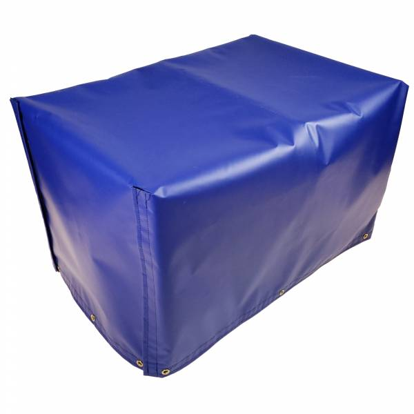 Custom 4-Sided Box Shaped Tarp Cover with Tail Flap - 18oz Vinyl Coated Polyester