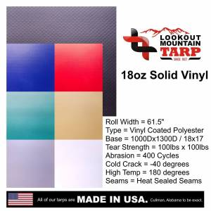"Lookout Mountain Tarp - 18oz Solid Vinyl Coated Polyester - Sample 4"" x 6"" - Image 2"