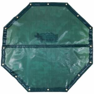 Custom Octagon Shaped Tarp Cover - 4.1oz Closed Mesh 95% Solid Green/Black