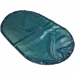 Custom Oval Shaped Tarp Cover - 4.1oz Closed Mesh 95% Solid Green/Black