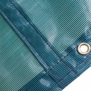 Custom Oval Shaped Tarp Cover - 4.1oz Closed Mesh 95% Solid Green/Black