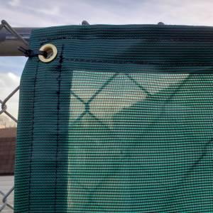 Custom Privacy Screen Fence Windscreen Tarp Cover - 4.1oz Closed Mesh 95% Solid Green/Black