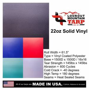 Lookout Mountain Tarp - Custom Rectangle Shaped Tarp Cover - 22oz Solid Vinyl Coated Polyester - Image 8