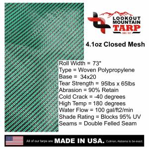 Lookout Mountain Tarp - Custom Rectangle Shaped Tarp Cover - 4.1oz Closed Mesh 95% Solid Green/Black - Image 8