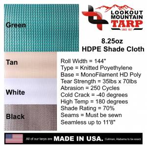 Lookout Mountain Tarp - Custom Rectangle Shaped Tarp Cover - 8.25oz Knitted Mesh 70% Solid - Image 8