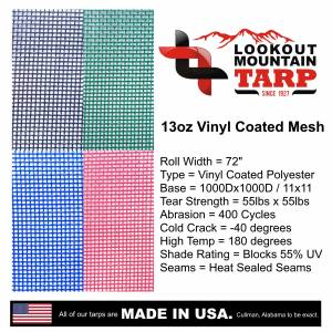 Custom UV Shade Cloth Tarp Cover  - 11oz Vinyl Coated Mesh 55% Solid