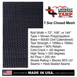 Custom UV Shade Cloth Tarp Cover  - 7.5oz Closed Mesh 95% Solid Black