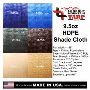 Custom UV Shade Cloth Tarp Cover  - 9.5oz Knitted Mesh 95% Solid