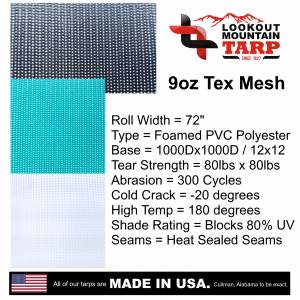 Custom UV Shade Cloth Tarp Cover  - 9oz Vinyl Coated Mesh 80% Solid