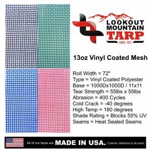 Custom Square Shaped Tarp Cover - 11oz Vinyl Coated Mesh 55% Solid