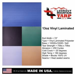 Custom Square Shaped Tarp Cover - 13oz Solid Vinyl Laminated Polyester