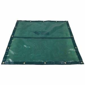 Custom Square Shaped Tarp Cover - 4.1oz Closed Mesh 95% Solid Green/Black