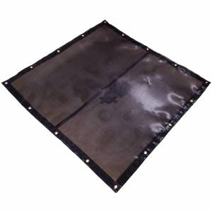 Custom Square Shaped Tarp Cover - 7.5oz Closed Mesh 95% Solid Black