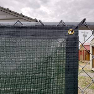 Custom Privacy Fence Screen Windscreen Tarp - 8oz Vinyl Coated Mesh Corner
