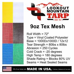 Lookout Mountain Tarp - Custom Size Mesh Bleacher Enclosure Tarp Curtain - Rectangular Back Panel - Image 9